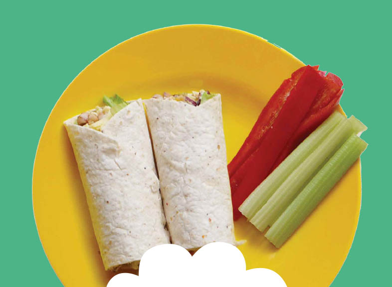 Bean & Cheese Wrap with Celery and Red Pepper