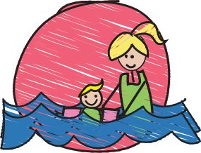 Image of mother and child swimming