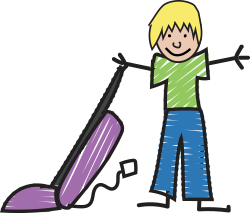 Image of child with a vacuum cleaner